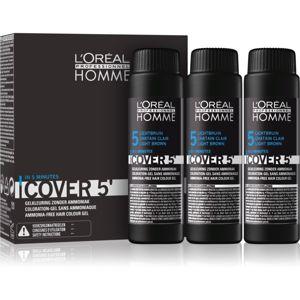L'Oréal Professionnel Homme Cover 5' színező hajfesték 3 db árnyalat 5 Light Brown 3x50 ml
