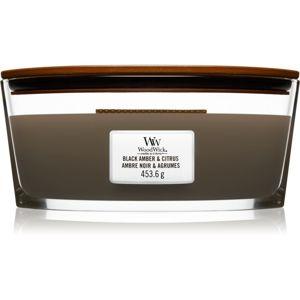 Woodwick Black Amber & Citrus illatos gyertya fa kanóccal (hearthwick)