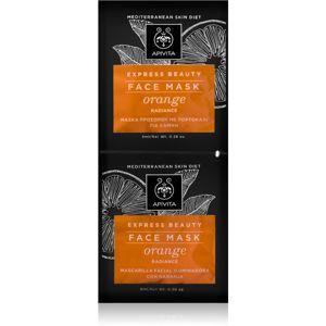 Apivita Express Beauty Orange Revitalizáló és Radiance arcpakolás 2x8 ml