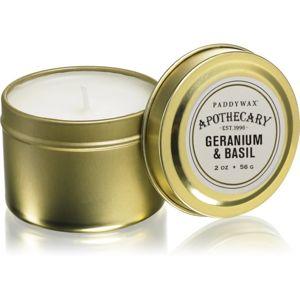 Paddywax Apothecary Geranium & Basil illatos gyertya alumínium dobozban