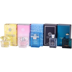 Versace Miniatures Collection ajándékszett IV. Yellow Diamond + Bright Crystal + Man + Pour Homme + Eros Eau de Toilette 5 x 5 ml